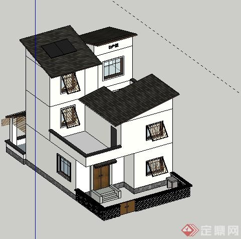 某地新农村建设五种户型住宅建筑设计su模型