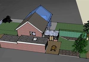 某欧式住宅景观设计SU(草图大师)模型-欧陆3D模型园林景观设计方
