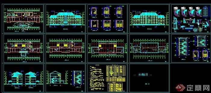 某现代四层办公楼(屋顶含坡系统)建筑设计平面设计中的三格顶层图片