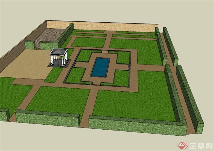 某欧式屋顶花园景观设计su模型