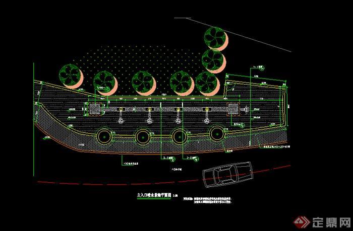 某园林喷水景墙平面图设计CAD图纸