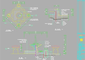 某室外喷泉水景施工图设计CAD图纸-水景喷泉园林景观细部图片