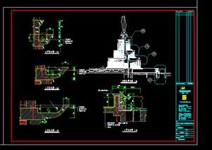 某室外雕塑人物水景喷泉施工图设计CAD图纸 -DWG欧陆水景喷泉园林图片