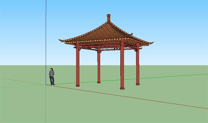 古典中式四角亭设计su模型图片