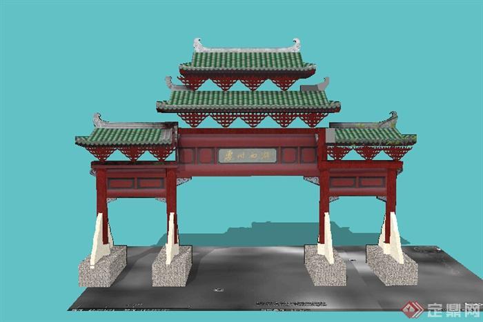 某古典中式牌匾门楼设计su模型图片