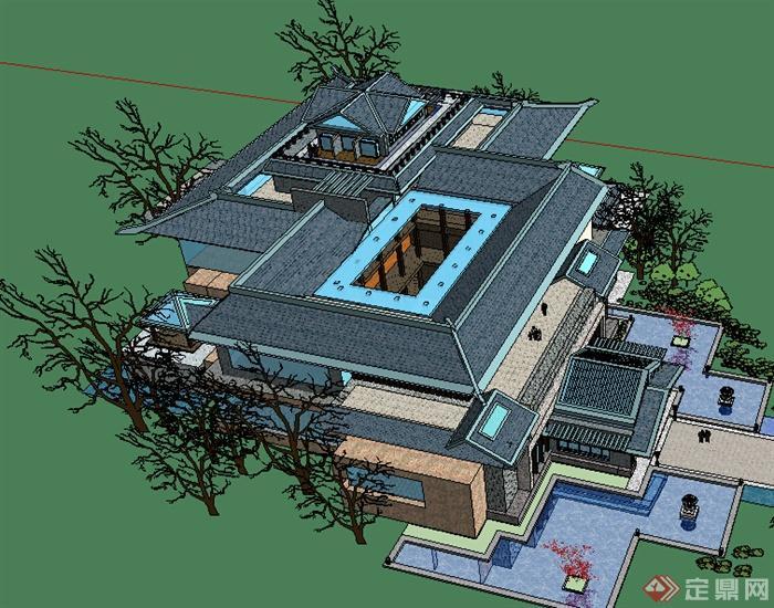 某现代中式风格博物馆设计su模型(3)