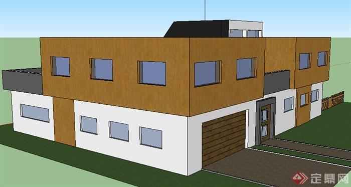 某现代风格多层别墅建筑设计su模型参考