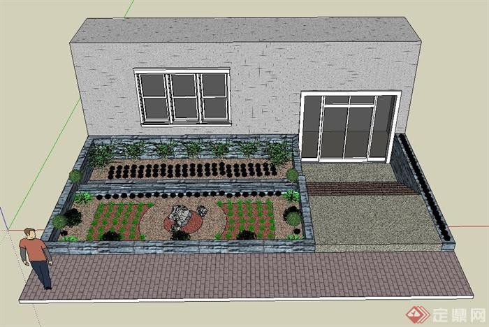 某建筑后院景观设计su模型