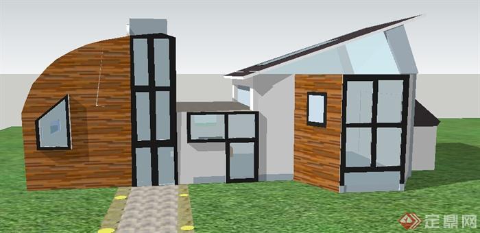 某个特色小别墅建筑设计su模型(2)
