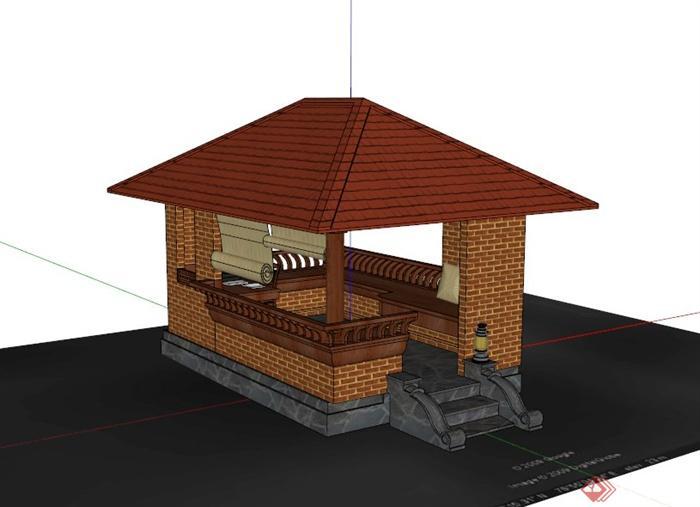 某古典中式四角凉亭设计su模型图片