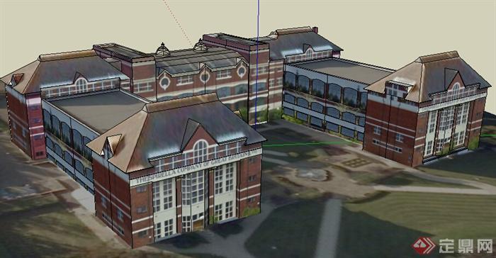 某欧式风格校园建筑设计su模型