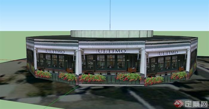 某欧式咖啡店建筑设计su模型(1)