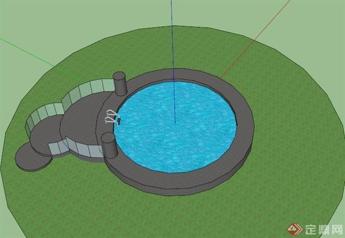 某现代圆形游泳池设计su模型(1)