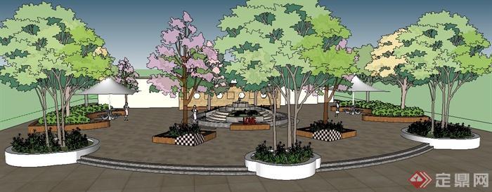 某园林景观小广场景观设计su模型(1)