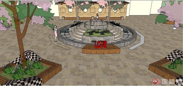 某园林景观小广场景观设计su模型(2)