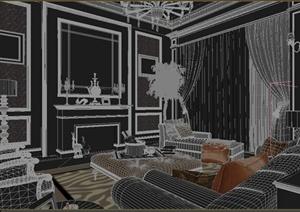 某新古典客厅装修设计3DMAX模型