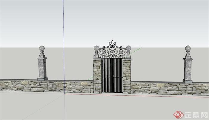 某欧式住宅庭院大门和围墙设计su模型