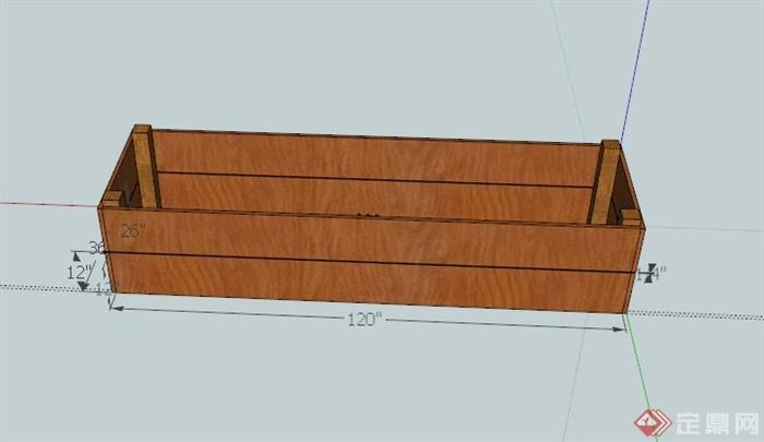 某现代木制长方体花池设计su模型