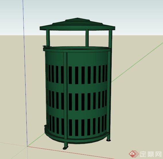 某现代圆形铁艺垃圾桶设计su模型