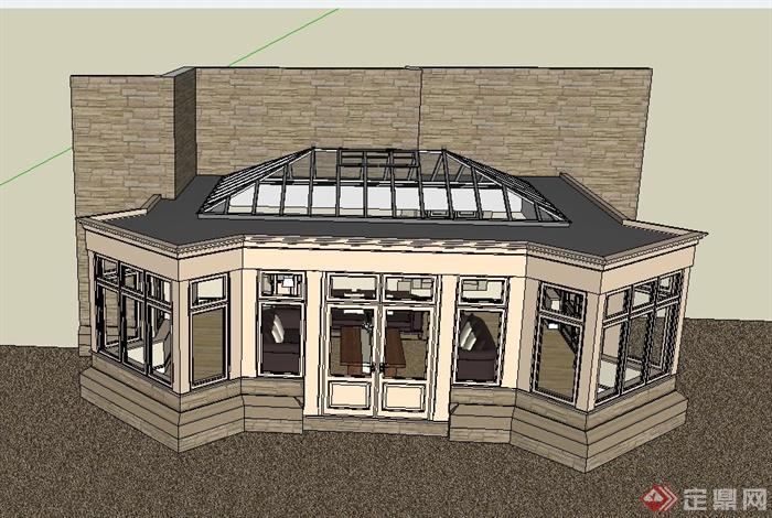 某欧式阳光房建筑设计SU模型,附带有室内家具的陈设布置,建筑造型简洁,具有一定的参考价值,有需要的朋友可以下载使用。