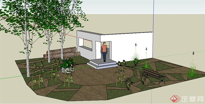 某室外后院庭院花園設計su模型素材(2)