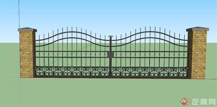 某欧式庭院大门设计su模型