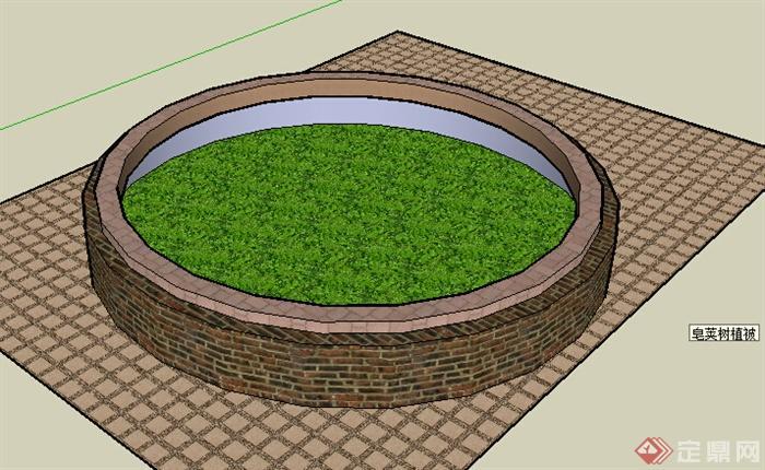 某室外景观树池设计su模型素材(1)