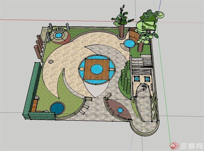 某小游园布置景观设计su模型(1)