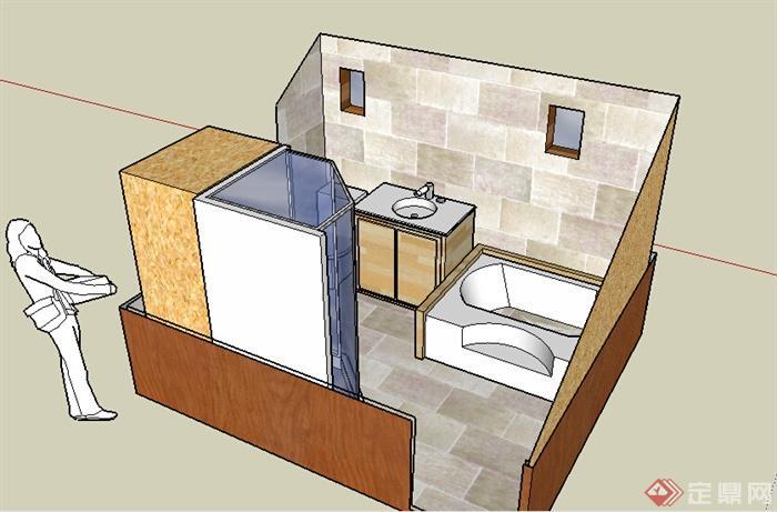 某室内住宅空间洗手间设计su模型