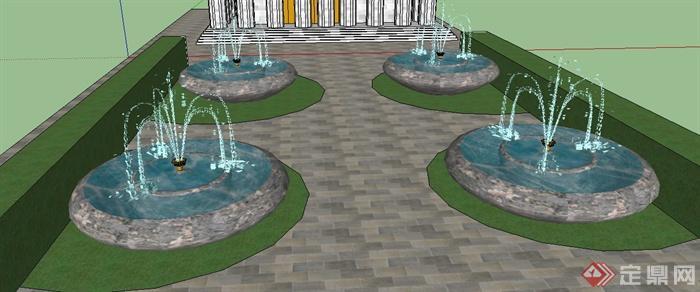 喷泉水景su模型