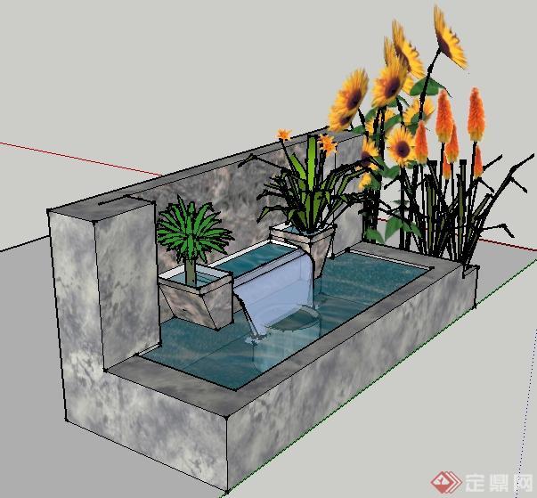 某园林景观花池水池组合su模型