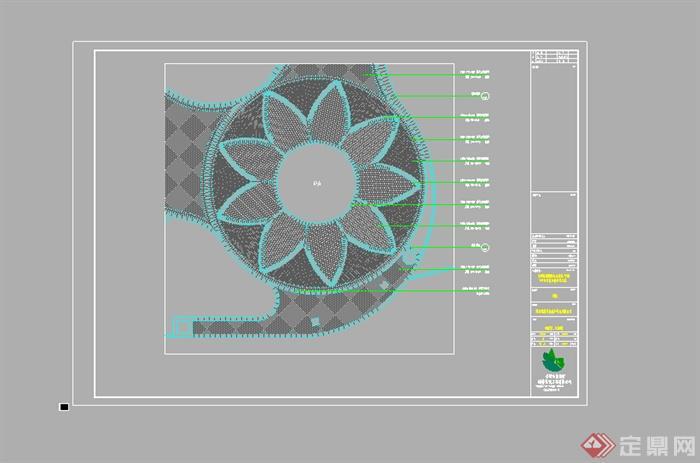 某圆形广场铺装设计cad图纸