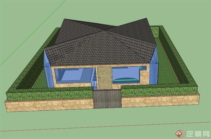 某欧式独特造型公寓建筑设计su模型