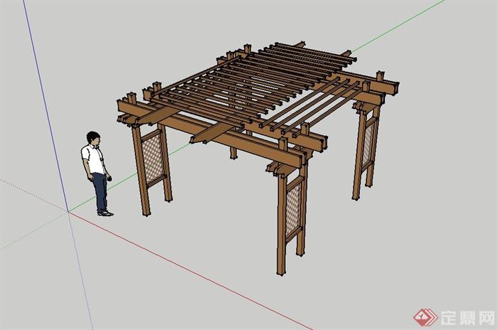 某现代木质廊架景观设计su模型