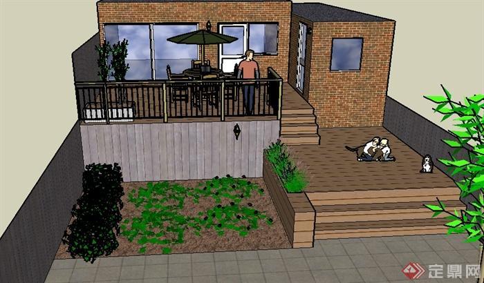 某建筑外庭院小花园景观设计su模型