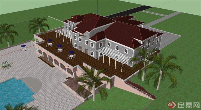 附带有庭院水池的景观设计,建筑二层含露台,整体设计豪华大气,欧式