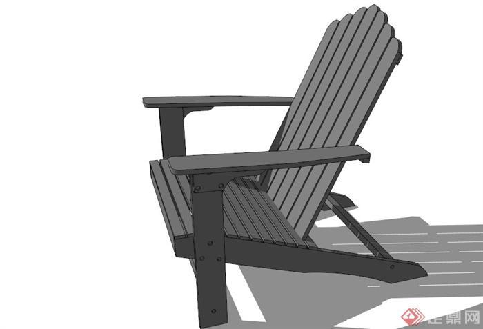 某木质休闲座椅设计su模型