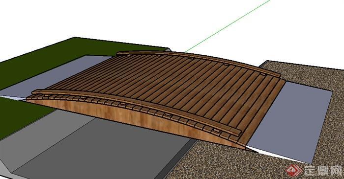 某木质园桥设计SU模型素材