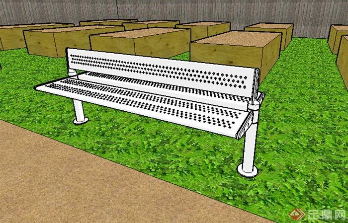 某园林座椅设计su模型素材