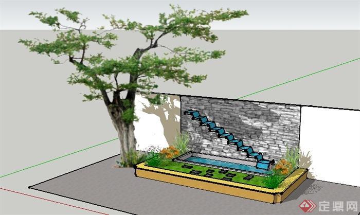 某园林景观叠水池景观设计su模型