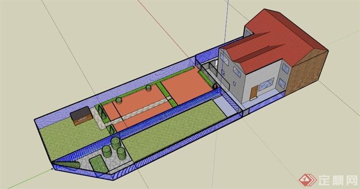 某欧式公寓住宅庭院景观设计su模型