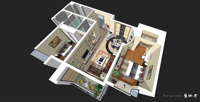 某简欧两室两厅室内装饰设计su精致模型图片