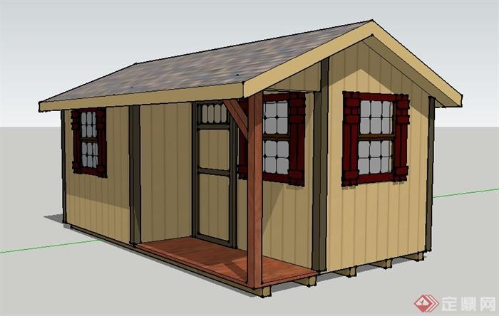 某木板拼接小木屋仓库建筑设计SU模型