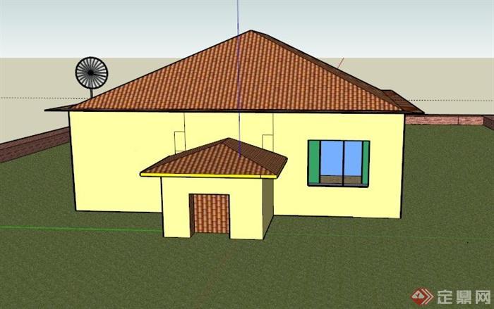 某欧式一层多间居住建筑设计su模型