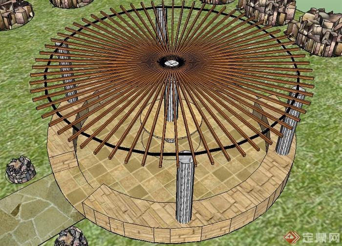某园林景观节点圆形木制花架su模型(1)