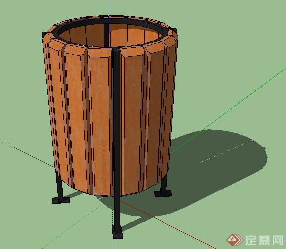 某园林景观木制垃圾桶su模型