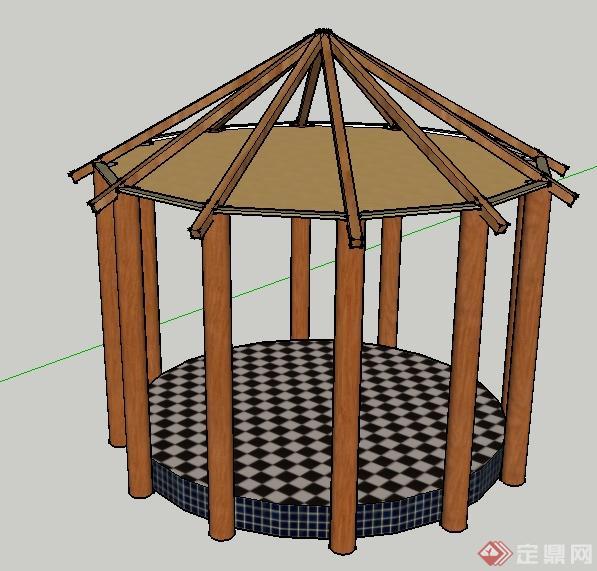 某园林景观木制园亭框架su模型