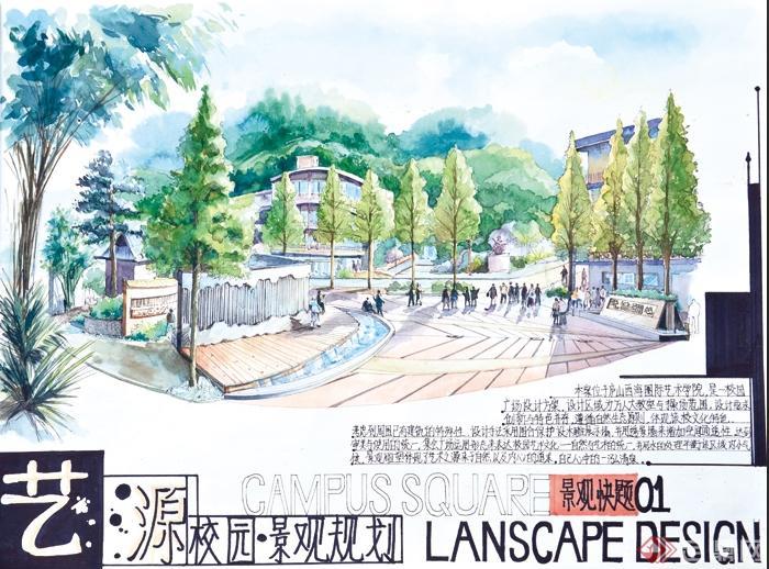 某校园景观快题设计手绘图片(1)