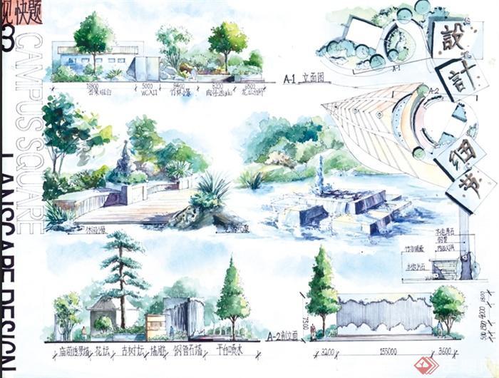 某校园景观快题设计手绘图片(3)