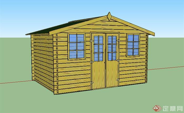 某单层小木屋居住建筑设计su模型